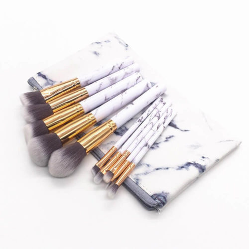 Wonders – 10 Pieces Marble Makeup Brushes with Marble Pouch